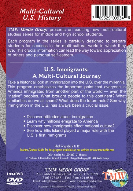 History of the United States: US Immigrants a Mulit-Cultural Journey DVD