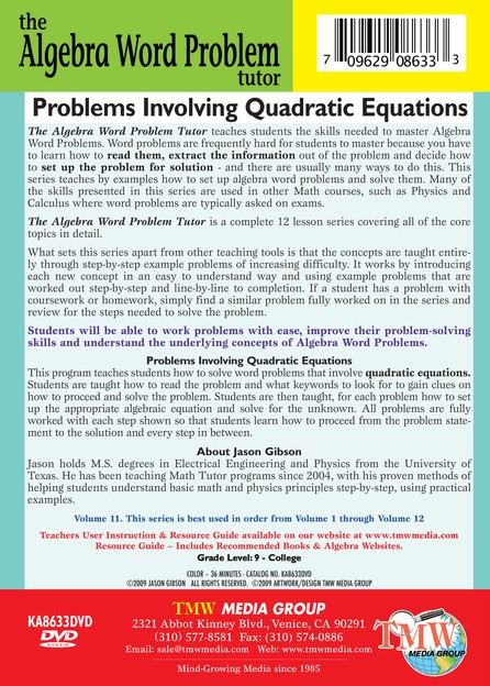 Algebra Word Problem: Problems Involving Quadratic Equations DVD