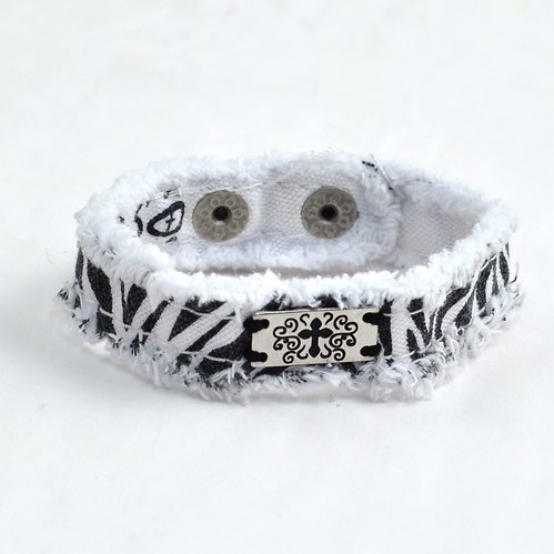 Zebra Cross, Canvas Bracelet