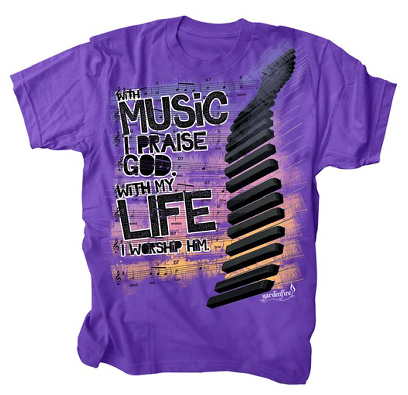 With My Life Worship Him, Shirt, Purple, Medium
