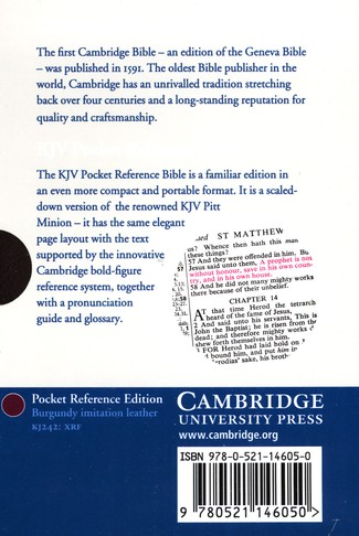 KJV Pocket Reference Bible with flap, Imitation leather, burgundy