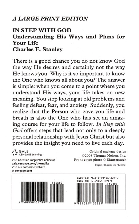 In Step with God: Understanding His Ways and Plans for Your Life, Large Print