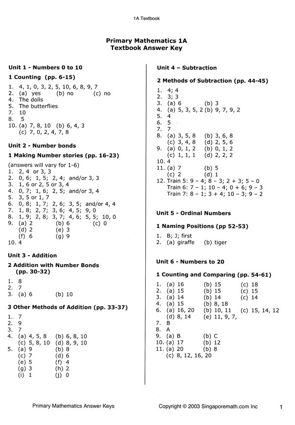 Singapore Math, Primary Math Answer Key Booklet 1A-3B