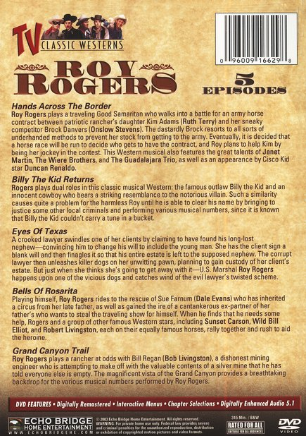 Roy Rogers, 5-Episode DVD