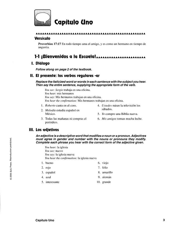 BJU Spanish 2, Student Activities Manual (Second Edition)