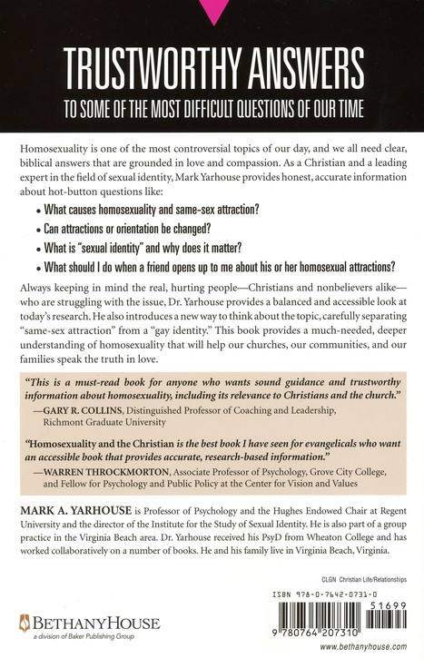 Homosexuality and the Christian: A Guide for Parents, Pastors, and Friends