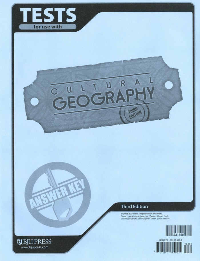 BJU Geography Tests Answer Key Grade 9, Third Edition