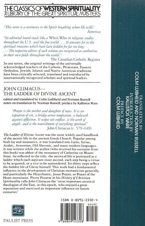John Climacus: The Ladder of Divine Ascent  (Classics of Western Spirituality)