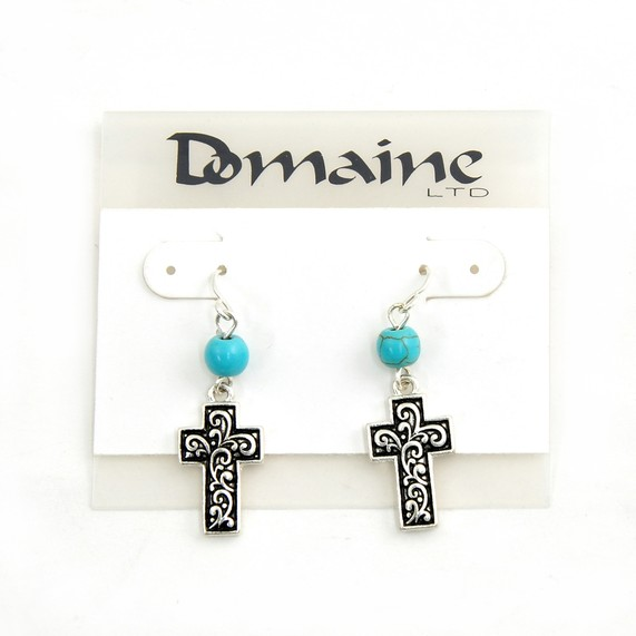Textured Cross and Jade Bead Earring