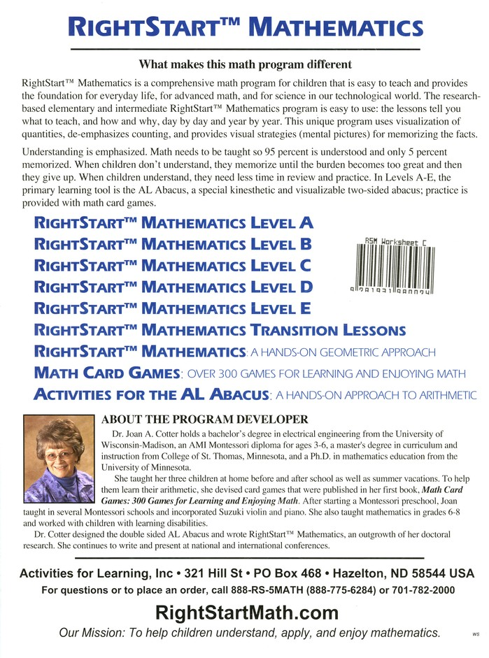RightStart Mathematics Level C Worksheets, 1st Edition
