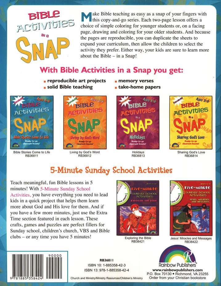 Bible Activities in a Snap: Bible Stories Come to Life, Ages 3-8