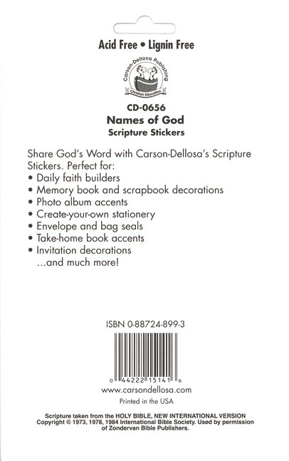 120 Self-Adhesive Names of God Stickers