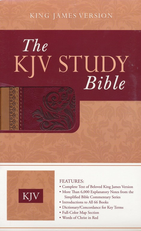 KJV Study Bible (DiCarta Antique) Brown/Burgundy Simulated Leather