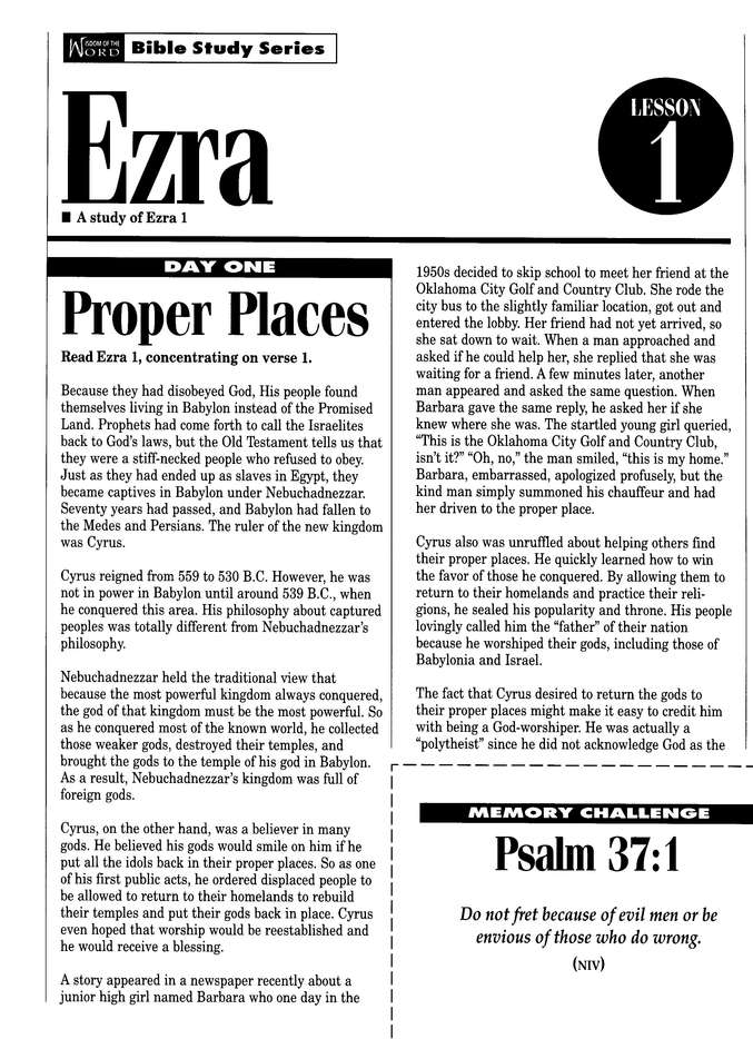Ezra, Leader of Moral Restoration: Wisdom of the Word Series