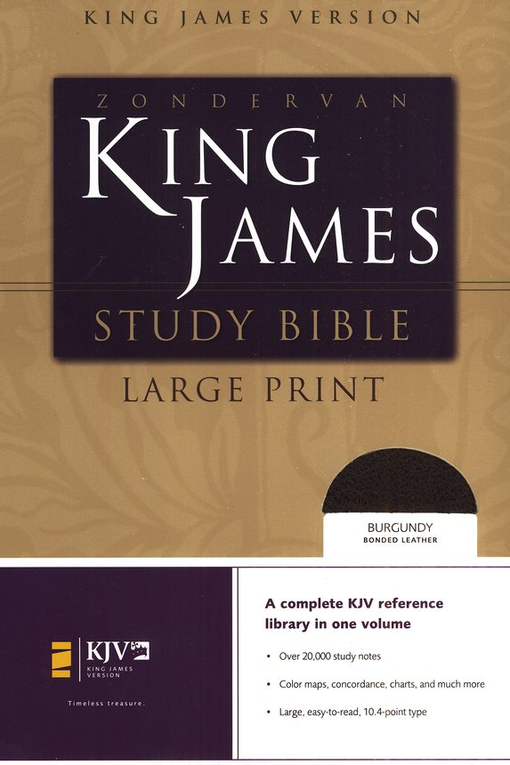 KJV Study Bible Large Print, Bonded Leather, Burgundy