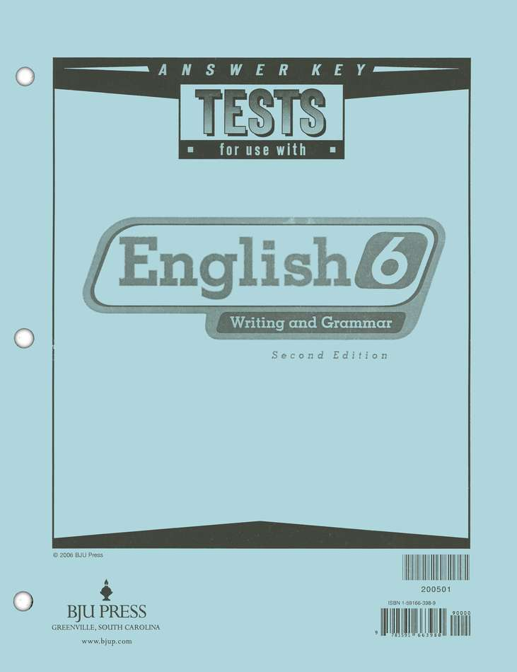 BJU English Grade 6 Test Answer Key, Second Edition