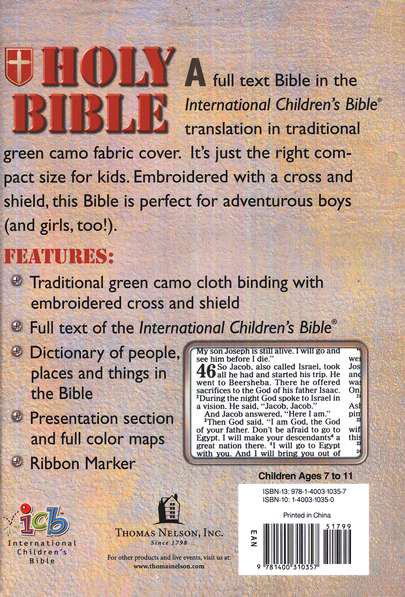 Small Hands Bible, Green Camo, ICB