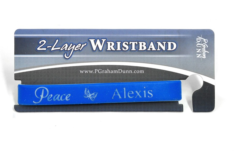 Personalized, Peace Wristband, With Name and Butterfly, Blue