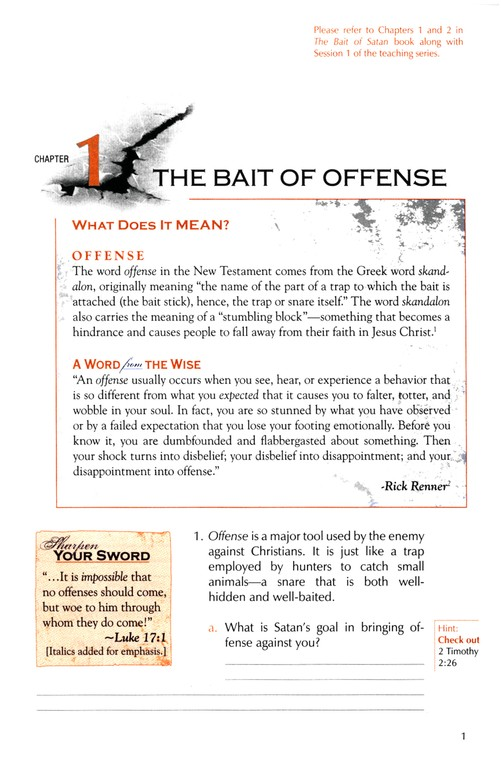 Bait of Satan: Living Free From the Deadly Trap of Offense, Workbook