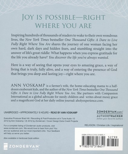 One Thousand Gifts: A Dare to Live Fully Right Where You Are, Audiobook CD
