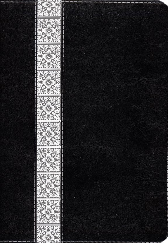 NLT Study Bible, TuTone Black & Vintage White Floral Fabric  Thumb-Indexed