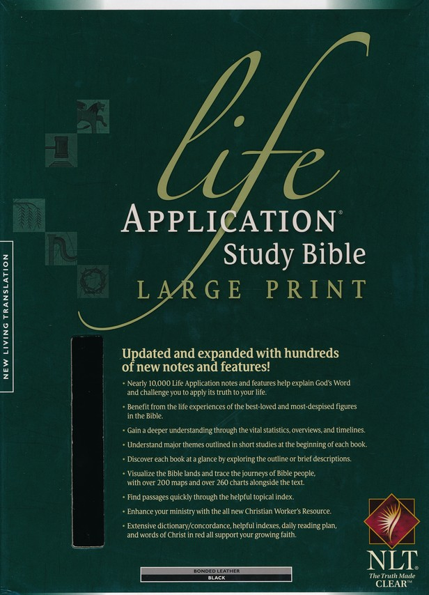 NLT Life Application Study Bible, Large Print, Black Bonded Leather, Indexed