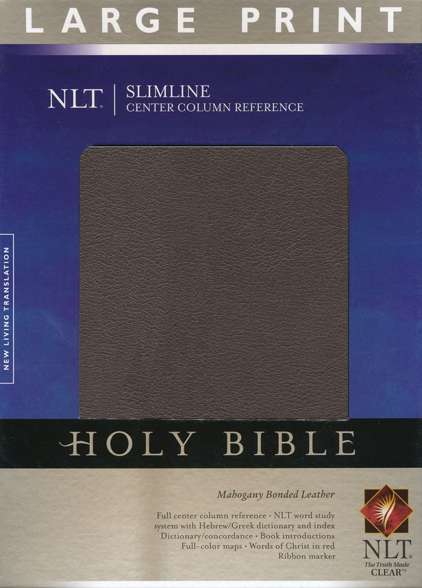 NLT Slimline Reference Bible, Large Print Bonded Mahogany Leather