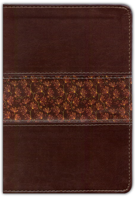 NLT Slimline Reference Bible, Large Print Compact TuTone Leatherlike Brown/Floral