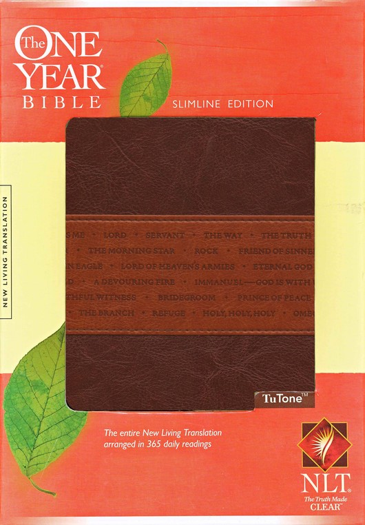 NLT One Year Bible Slimline Edition, TuTone Leatherlike Brown/Tan