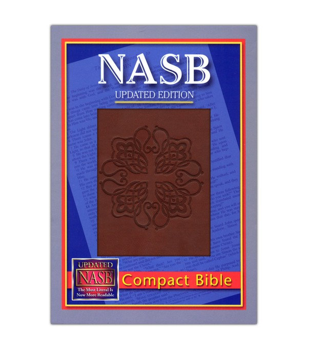 NASB Compact Leatherflex Bible, Burgundy with Greek Cross