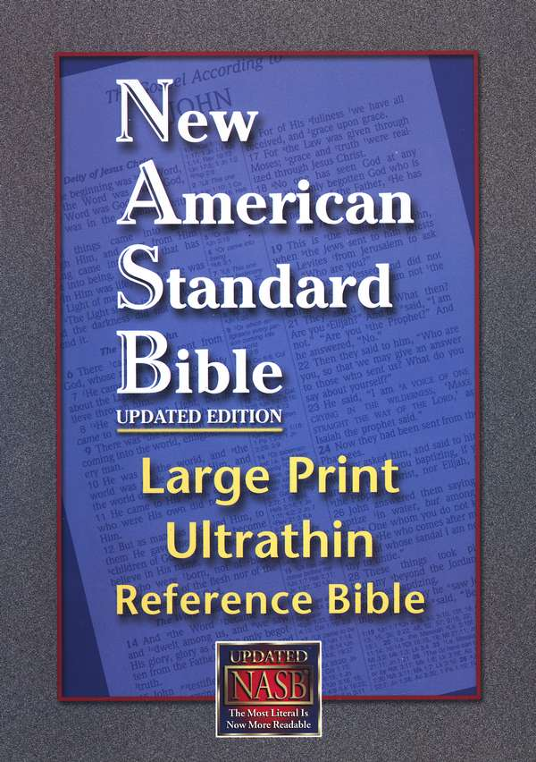 NASB UltraThin Large-Print Reference Bible--genuine leather, black