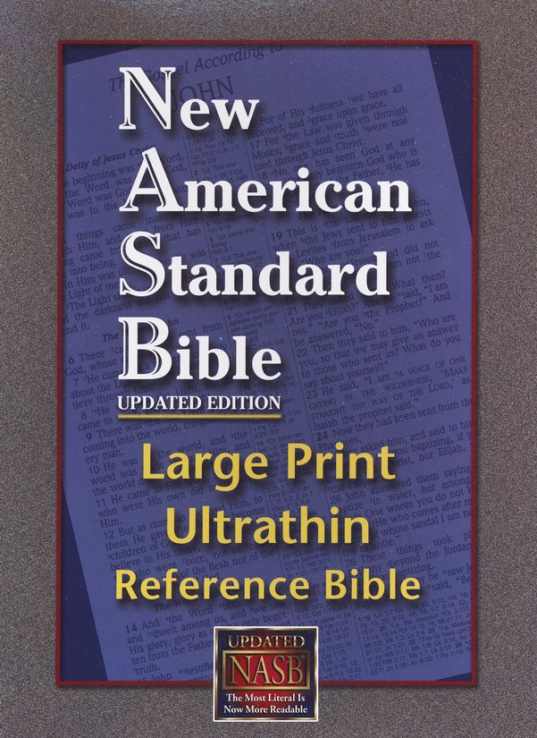 NASB Large-Print Ultrathin Reference Bible--bonded leather, burgundy