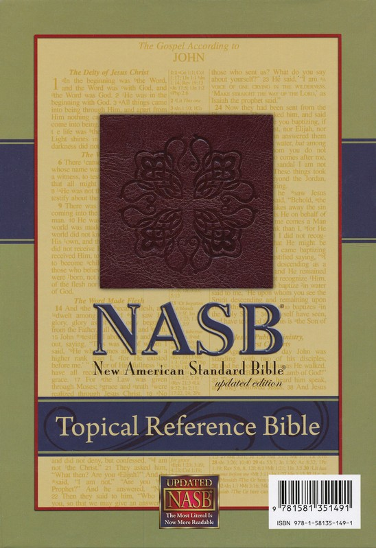 NASB Topical Reference Bible, Leathertex, Burgundy