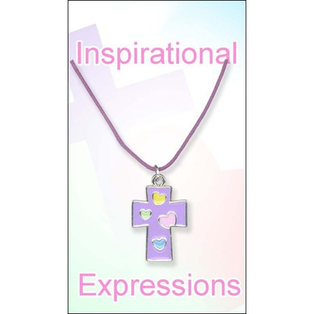 Kids' Cross Pendant, Purple with Colored Hearts