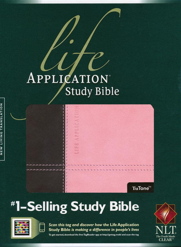 NLT Life Application Study Bible, TuTone Dark Brown/Pink Leatherlike