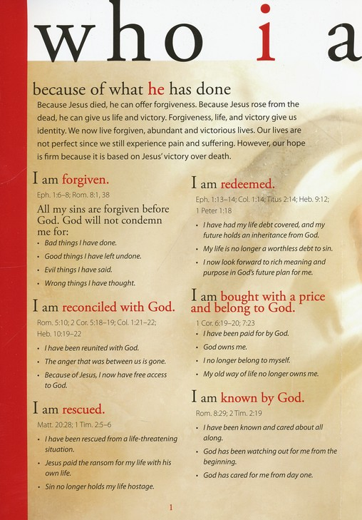 Who I Am in Christ, Pamphlet