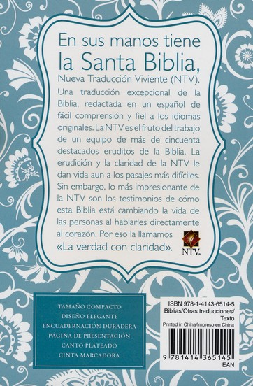Biblia Compacta NTV, SentiPiel Azul Claro  (NTV Compact Bible, Light Blue Imit. Leather)