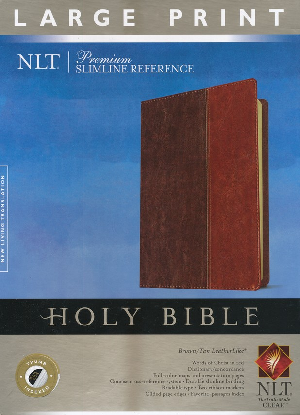 NLT Premium Slimline Reference Bible, Large Print TuTone Brown and Tan Imitation Leather, Indexed