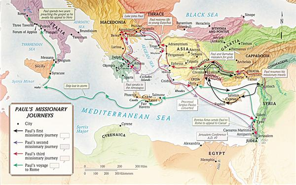 Map/Wall Chart-Paul's Missionary Journeys Map