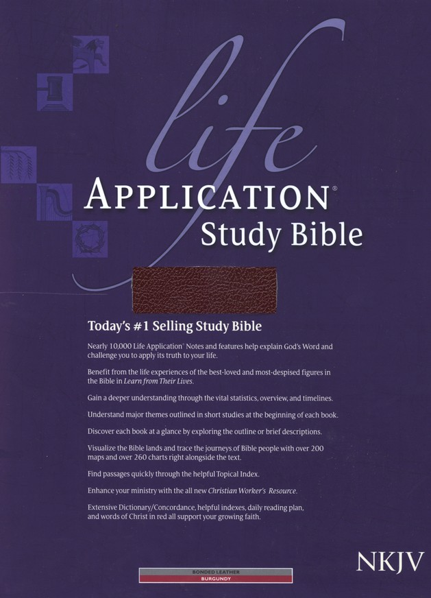 NKJV Life Application Study Bible, Bonded leather,   Burgundy, Thumb Indexed