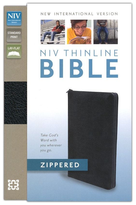 NIV Thinline, Bonded Leather, Zippered Collection Bible, Black