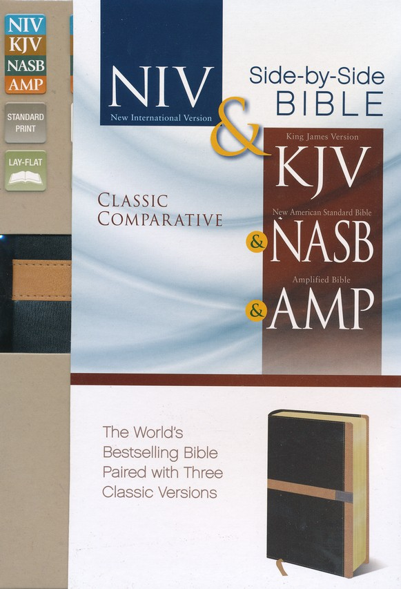 Classic Comparative Side-by-Side Bible: NIV KJV NASB Amplified: The World's Bestselling Bible Paired with Three Classic Versions, Italian Duo-Tone, Black/Camel