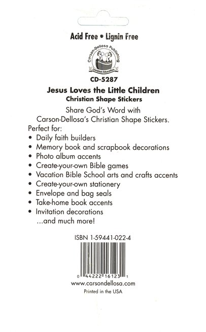 72 Jesus Loves The Little Children Christian Shape Stickers