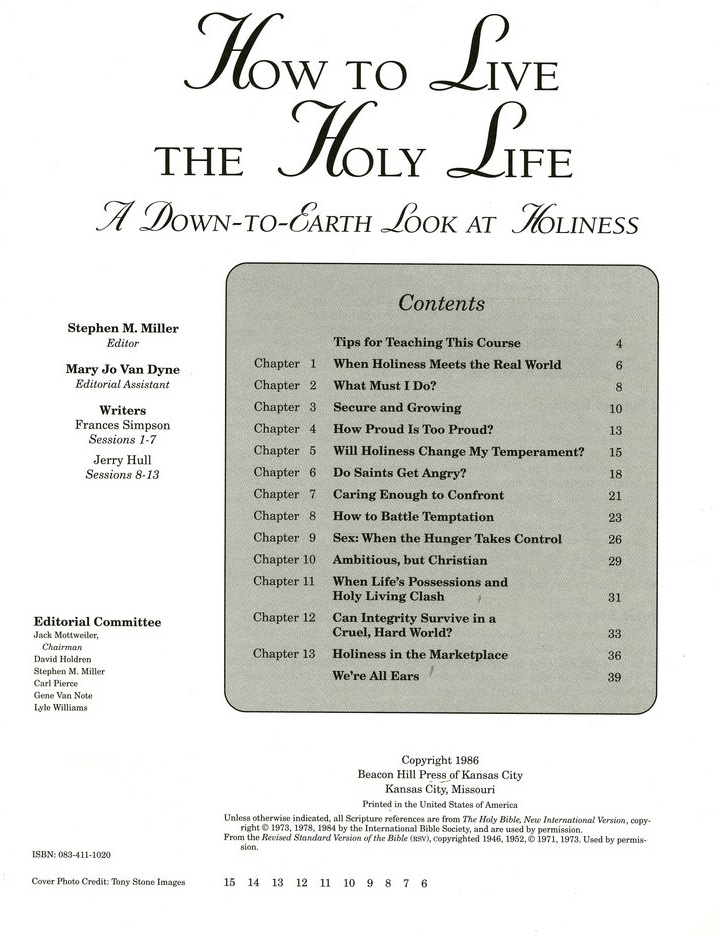How to Live the Holy Life: A Down-to-Earth Look at  Holiness Leader's Guide