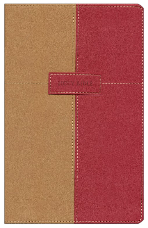 King James Version Thinline Bible, Italian Duo-Tone, Dark Camel/Rich Red