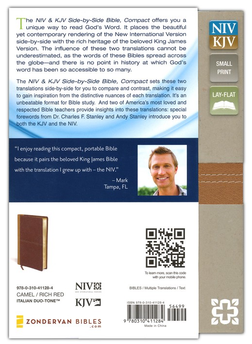 NIV and KJV Side-by-Side Bible, Compact: God's Unchanging Word Across the Centuries, Italian Duo-Tone, Camel/Rich Red