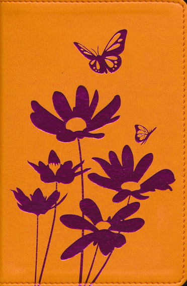 NIV Flora and Fauna Collection Bible, Compact, Italian Duo-Tone, Tangerine/Magenta Flowers