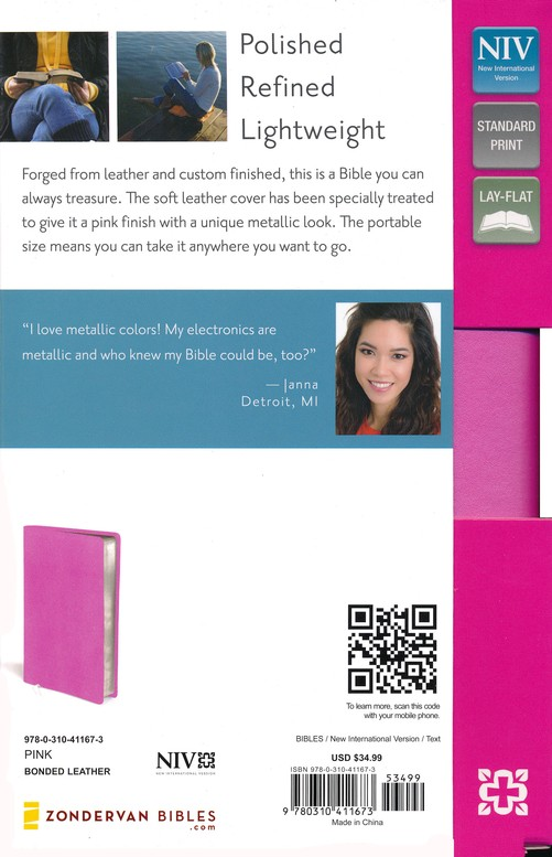 NIV Thinline Metallic Collection Bible, Pink