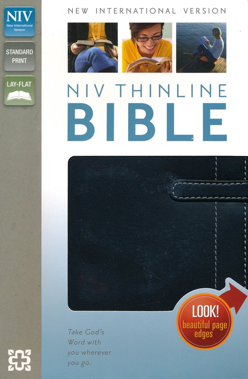 NIV Thinline Bible, leather Bound, Black