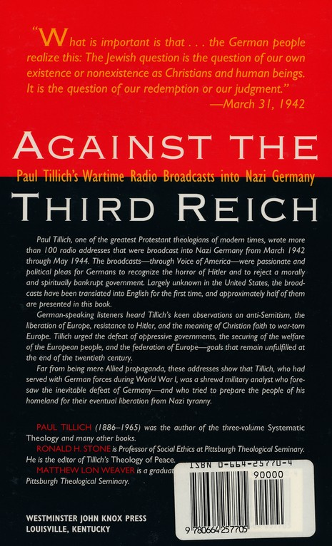 Against the Third Reich: Paul Tillich's Wartime Radio